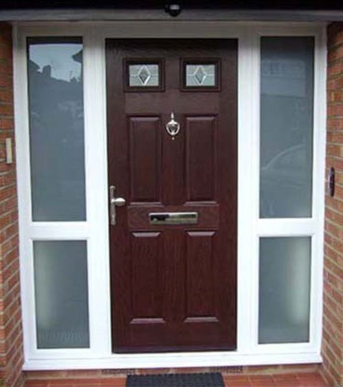 brown composite doors in multi coloured